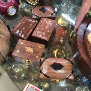 Portable Wooden Carved Storage Box