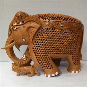 Wooden Carved Jali Elephant Statue