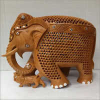Wooden Carved Jali Elephant Statue