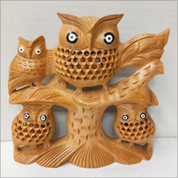 Decorative Wooden Carved Owl Statue
