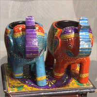 Hand Painted 2 Elephant Set