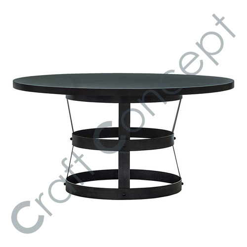 Round Black Top Coffee Table