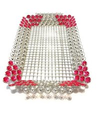 Brass Decor Handmade Decorative And Beautiful Tray With Crystal And Beads