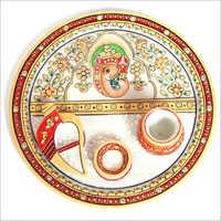 Hand Painted Marble Pooja Thali