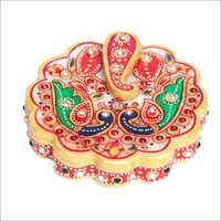 Hand Painted Studded Marble Pooja Thali