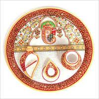 Lord Ganesha Idol Marble Pooja Thali
