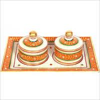 Marble Sindoor Box Thali