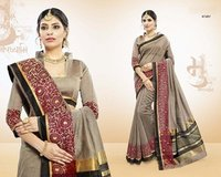 Cotton Wiving Border Printed Saree