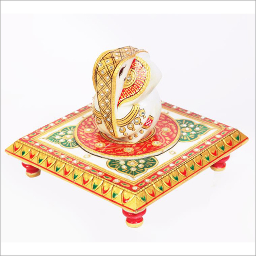 Lord Ganesha Marble Statue With Chowki