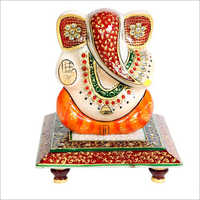 Lord Ganesh Polished Marble Statue