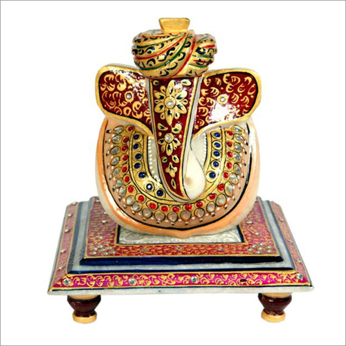 Lord Ganesha White Marble Statue