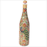 Handicraft Peacock Design Marble Bottle