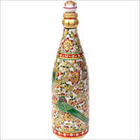 Handicraft Parrot Design Marble Bottle