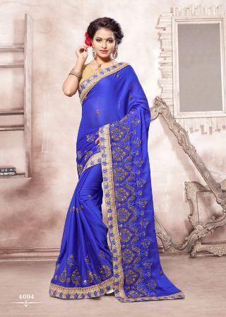 Dark Blue Wedding Wear Designer Saree