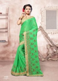 Light Green Festive Wear Saree