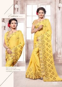 Yellow Embroidery Designed Wedding Wear Saree