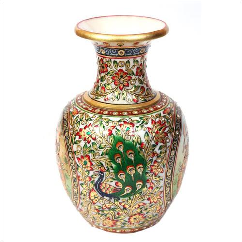 Peacock Design Marble Vase