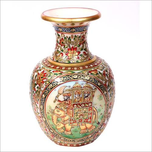 Elephant Design Marble Vase
