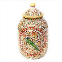 Parrot Design Marble Vase