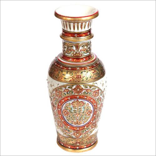 Flower Design Hand Painting Marble Vase