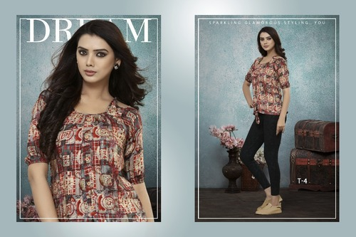 Designer Rayon Cotton Printed Tops