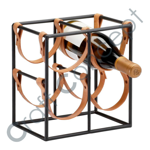 METAL & LEATHER STRIPS WINE RACK