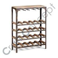Metal & Wooden Blocks Wine Rack