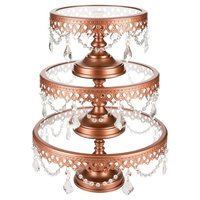 Victoria Rose Gold Cake Stand Set Of 3, Round Glass Plate Metal