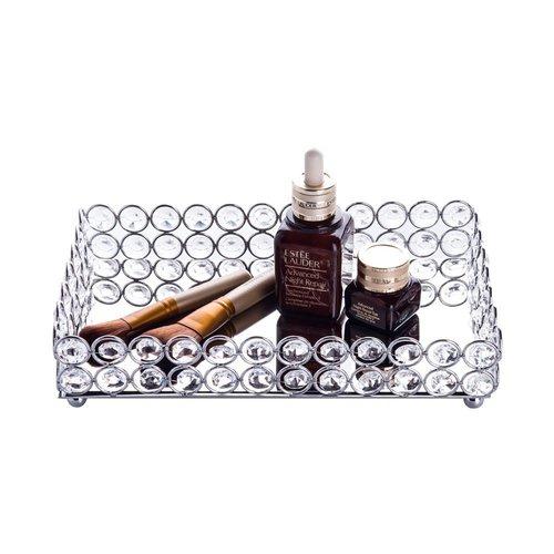 Feyarl Crystal Beads Cosmetic Tray Rectangle Jewelry Organizer Tray