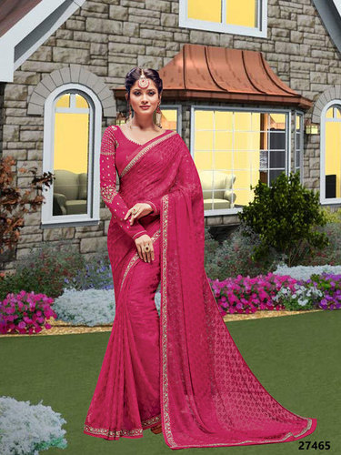Pink Coloured Designer Party Wear Saree