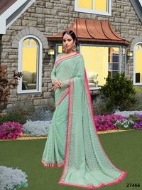 Party Wear Blue Saree With Pink Border
