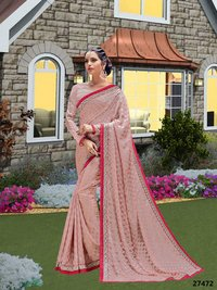 Pink Saree With Red Border