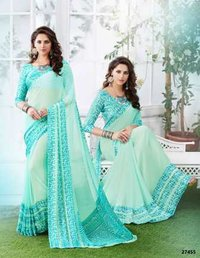 Sky Blue Coloured Daily Wear Saree