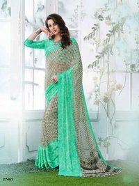 Green Double Shaded Designer Daily Wear Saree