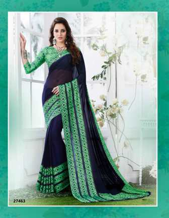 Black And Green Designer Daily Wear Saree