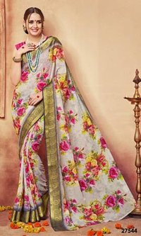 Rose Printed Colouring Saree
