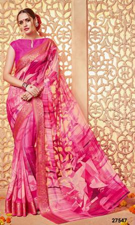Pink Printed Saree