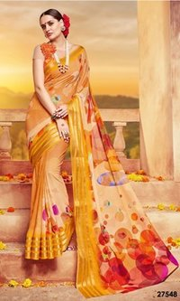 Yellow Printed Designer Saree