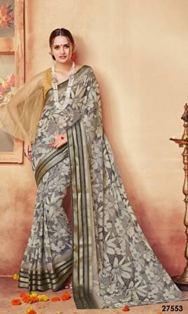 Gray Designer Print Saree