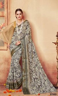 Gray Designer Print Saree