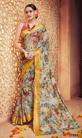 Multi Coloured Printed Saree