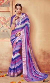 Purple Saree With Colouring Shade