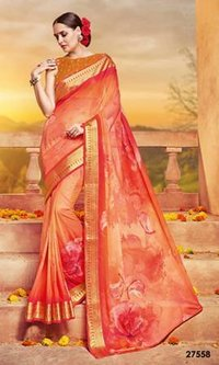 Orange Coloured Sleve less Saree