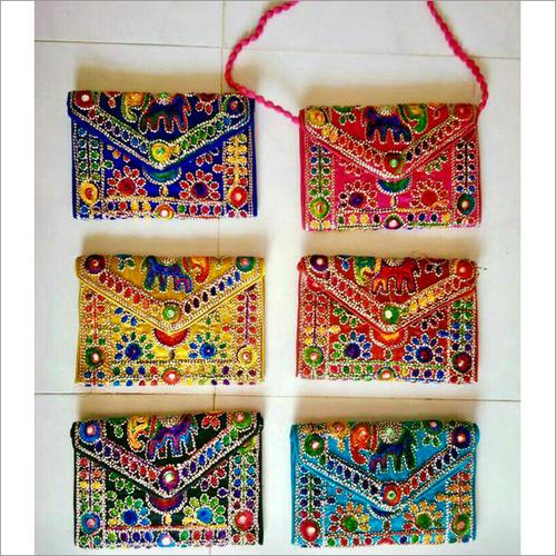 Handmade Embroidered Flap Sling Bag