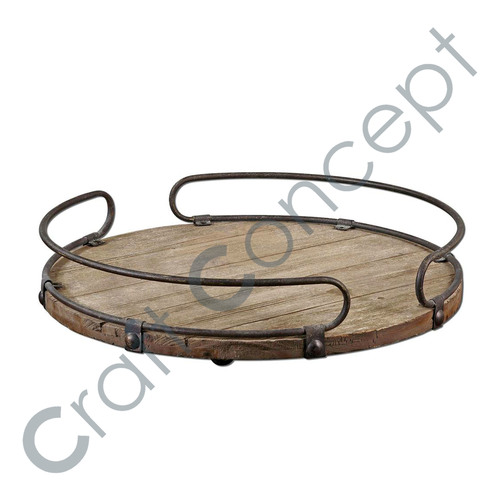 ROUND WOODEN WINE TRAY