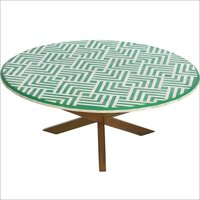 Round bone inlay furniture coffee table