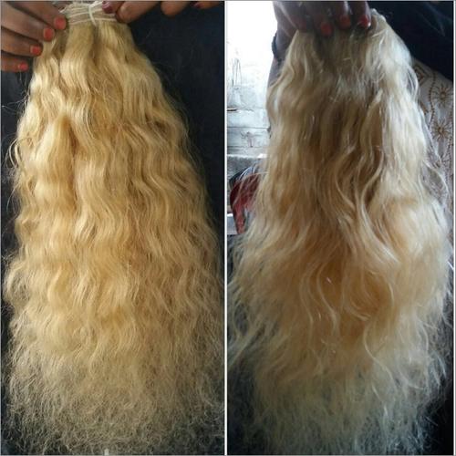 curly blond hair