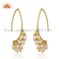 Natural Pearl Gemstone Gold Plated Hook Earrings Jewelry