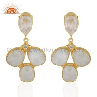 CZ Rose Quartz Gemstone Brass Fashion Earrings Jewelry
