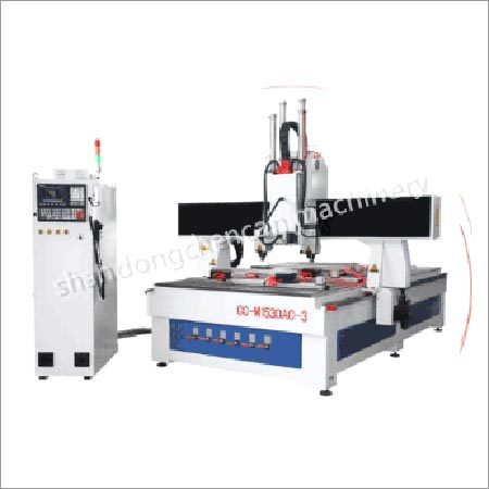 Three Workstages Wood CNC Router With Free-Rotating Head